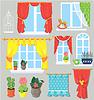Conjunto de ventanas, cortinas y flores en macetas. | Ilustración vectorial