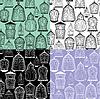 Set von nahtlosen Muster mit dekorativen Vogelkäfig