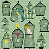 Set dekorative Vogelkäfig und Vögel Silhouetten