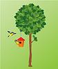 Árbol verde, pájaros tit y nidal | Ilustración vectorial