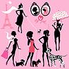Set von schwarzen Silhouetten von modischen Mädchen mit