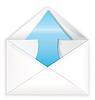 Weißer Umschlag blauen Pfeil aus