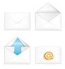Weiß offenen verschlossenen Umschlag-Icon-Set