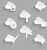 Wolke-Icon-Set aus weißem Kunststoff sparen