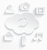 Weiß Cloud-Computing-Symbole Pfeile Schnitt