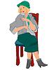 Retro-Mädchen auf Stuhl im grünen Hut
