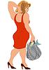 Cartoon Frau im roten Kleid und Tasche mit Fisch zurück