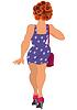 Cartoon Mädchen in lila Kleid und lockigem Haar zurück