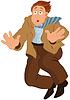 Cartoon-Mann in der braunen Jacke und Krawatte nach unten fallen