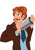 Cartoon-Mann in der braunen Jacke lächelnd und mit gra