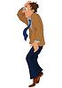 Cartoon-Mann in brauner Jacke, die auf Zehenspitzen