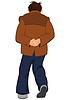 Cartoon-Mann in der braunen Jacke zu Fuß entfernt Rückansicht
