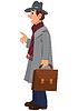 Cartoon Mann im grauen Hut Mantel und Aktenkoffer