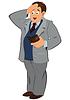 Cartoon Mann im grauen Jacke Blick in den Geldbeutel