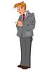Cartoon Mann im grauen Anzug und roter Krawatte