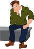 Cartoon-Mann in der grünen Jacke und blaue Hose sitzt