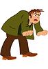 Cartoon-Mann in der grünen Jacke und offenem Mund