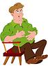 Cartoon-Mann in grünen Polohemd berühren Magen
