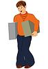 Cartoon-Mann in orange mit zwei großen Boxen