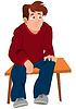 Cartoon Mann im roten Pullover und eine blaue Hose sitzt o