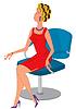 Cartoon Frau im roten Kleid und Haar Rollen