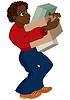 Cartoon schwarze Mann im roten Pullover Halteboxen