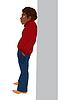Cartoon schwarze Mann im roten Pullover stehend in der Nähe Wand