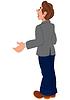 Cartoon-Mann in der grauen Jacke und blauen Hosen Rückansicht