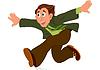 Cartoon-Mann in der grünen Jacke läuft mit den Händen