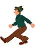 Cartoon-Mann in grünen Pullover braune Hose und grünen