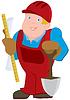 Cartoon-Mann in roter Uniform und mit constrictor
