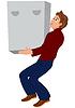 Cartoon Mann im roten Pullover und braune Schuhe halten