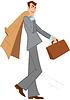 Cartoon Mann mit braunen Aktentasche zu Fuß