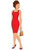 빨간 드레스와 눈을 감 으면 만화 젊은 여자 | Stock Vector Graphics