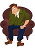 Cartoon-Mann in der grünen Jacke sitzt im Sessel