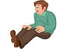 Cartoon-Mann in grünen und braunen Hosen sitzen