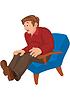 Cartoon-Mann in der roten Oberseite und braune Hose sitzt