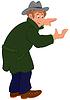 Glücklich Cartoon-Mann im grauen Mantel und Hut