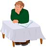 Glücklich Cartoon-Mann sitzt am Tisch