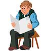 Glücklich Cartoon-Mann sitzt im Sessel in grün