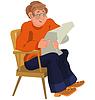 Glücklich Cartoon-Mann sitzt im Sessel in orange