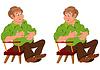 Glücklich Cartoon-Mann sitzt im Sessel mit den Händen