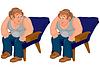 Glücklich Cartoon-Mann sitzt im blauen Stuhl in grau oben