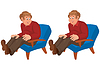 Glücklich Cartoon-Mann sitzt im blauen Stuhl
