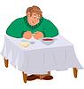 Glücklich Cartoon-Mann sitzt am Tisch mit Suppe