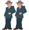 Glücklich Cartoon-Mann, der in grauen Suite und Hut