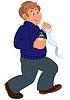 Glücklich Cartoon-Mann zu Fuß und holding Erste-Hilfe-