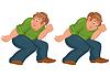Glücklich Cartoon-Mann zu Fuß und hält etwas