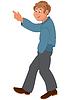 Glücklich Cartoon-Mann zu Fuß und Zeige