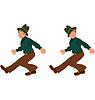 Glücklich Cartoon-Mann zu Fuß im grünen Hut